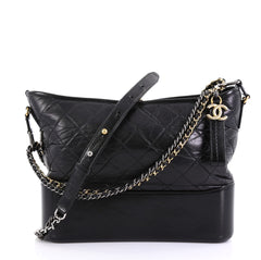 Chanel Model: Gabrielle Hobo Quilted Aged Calfskin Medium Black 42071/1