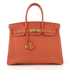 Hermes Birkin Handbag Orange Togo with Gold Hardware 35 420791