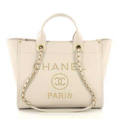 Chanel Deauville Tote Studded Caviar Small Neutral 421203