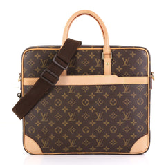 Louis Vuitton Cupertino Briefcase Monogram Canvas Brown 421221