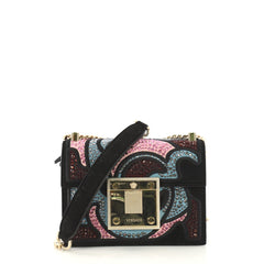 Versace Baroccoflage Chain Flap Bag Crystal Embellished 421351