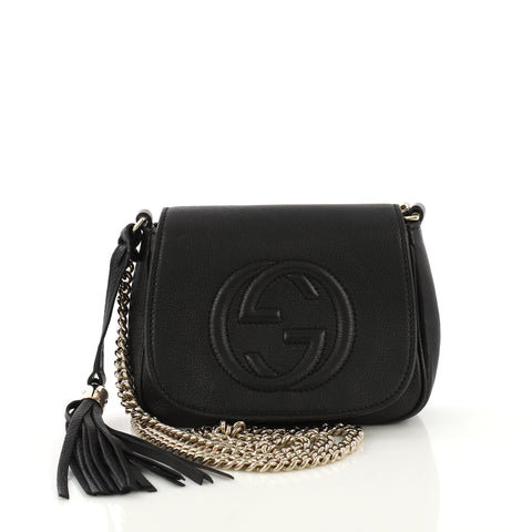 6fbb48e1c Gucci Soho Chain Crossbody Bag Leather Small Black 421441 – Rebag