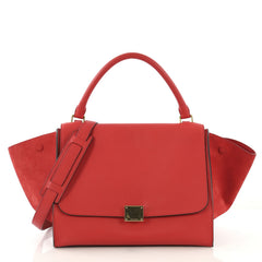 Celine Trapeze Handbag Leather Medium Red 421691