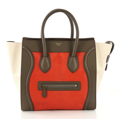 Celine Tricolor Luggage Handbag Pony Hair and Leather Mini 421741