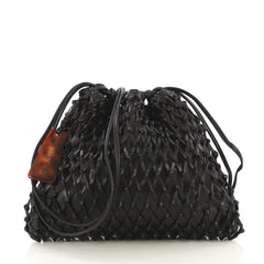 Chanel Vintage Resin Bucket Bag Woven Leather Medium Black 42196113