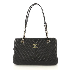 Chanel Surpique Chain Zip Tote Chevron Lambskin Large 42196144