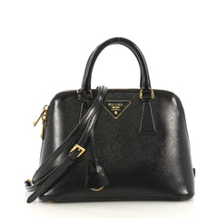 Prada Promenade Bag Vernice Saffiano Leather Small Black 42196146
