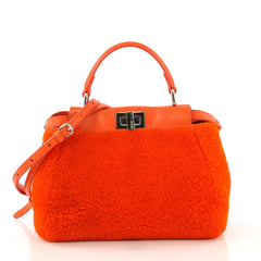 Fendi Peekaboo Bag Shearling Mini Orange 4219616