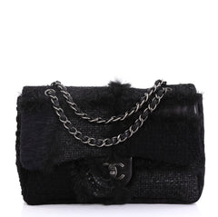 Chanel CC Chain Flap Patchwork Tweed and Fur Jumbo Black 4219620