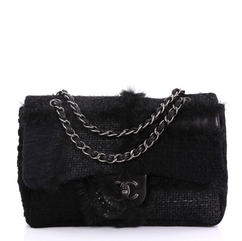 2d81a289dd63 Chanel CC Chain Flap Patchwork Tweed and Fur Jumbo Black 4219620 – Rebag