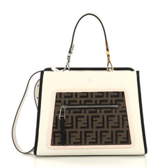 Fendi Runaway Handbag Leather and Logo Embossed Leather 4219650