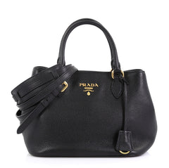 Prada Convertible Satchel Vitello Phenix Small Black 4219660