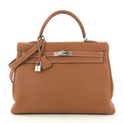 Hermes Kelly Handbag Brown Togo with Palladium Hardware 35 4219662