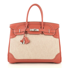 Hermes Birkin Ghillies Handbag Toile and Red Swift with 4219663