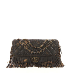 Chanel Paris-Dallas Fringe Flap Bag Quilted Leather Brown 4219667