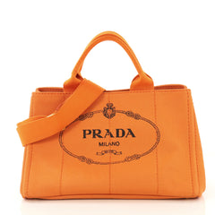 Prada Canapa Convertible Tote Canvas Medium Orange 4219675