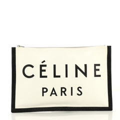 Celine Made In Pouch Printed Canvas Large White 4219679