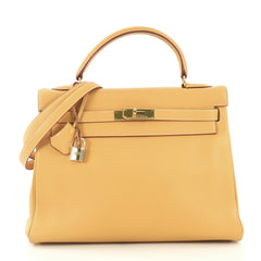 Hermes Kelly Handbag Yellow Clemence with Gold Hardware 32 4219684