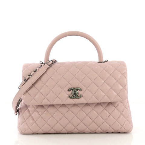 bbcb7c5f9541ed Chanel Coco Top Handle Bag Quilted Caviar Medium Pink 4219692 – Rebag