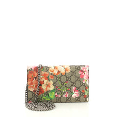 Gucci Chain Wallet Blooms Print GG Coated Canvas Brown 422081