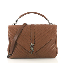 Saint Laurent Classic Monogram College Bag Matelasse Chevron brown 422124
