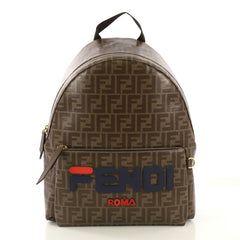 Fendi Mania Logo Backpack Zucca Coated Canvas Medium Brown 422181