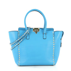 Valentino Rockstud Tote Rigid Leather Medium Blue 422241