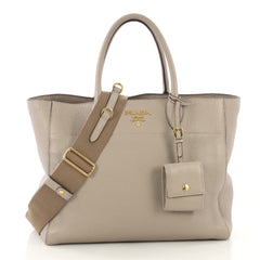 Prada Dual Strap Convertible Open Tote Vitello Daino Medium 422401