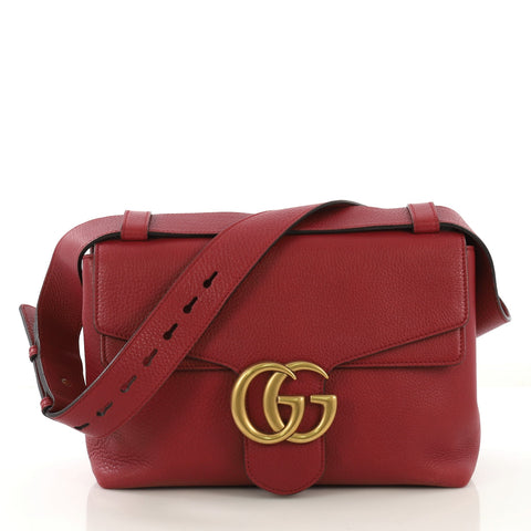 584cd7bc795 Gucci GG Marmont Shoulder Bag Leather Small Red 4224028 – Rebag