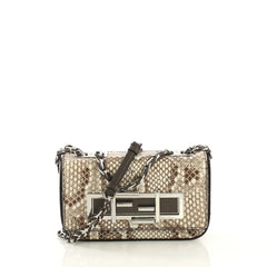 Fendi 3Baguette Crossbody Bag Python Mini Neutral 422402