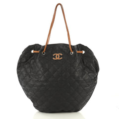 Chanel Cocomark Drawstring Tote Quilted Caviar Black 4224032
