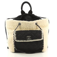 d6c15b9c9ae2 Chanel Coco Neige Shopping Tote Shearling with Quilted Nylon 422405