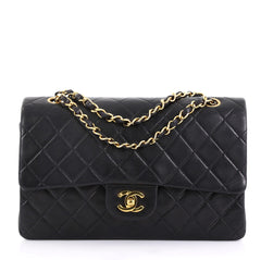 Chanel Model: Vintage Classic Double Flap Bag Quilted Lambskin Medium Black 42251/12