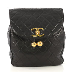 Chanel Model: Vintage CC Flap Backpack Quilted Lambskin Medium Black 42251/13