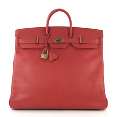 Hermes HAC Birkin Bag Red Ardennes with Gold Hardware 50 Red 422511