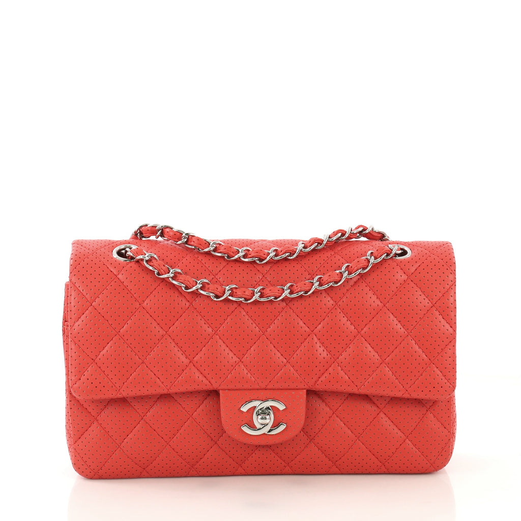 68044650599e9c Chanel Classic Double Flap Bag Quilted Perforated Lambskin 4225125 – Rebag