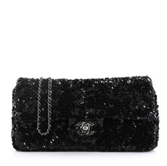 Chanel Model: Classic Single Flap Bag Sequins East West Black 42251/26