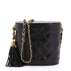 Chanel Model: Vintage Tassel Box Bag Quilted Leather Small Black 42251/28