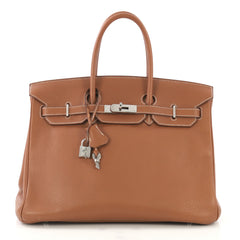 Hermes Birkin Handbag Brown Clemence with Palladium Hardware 422512