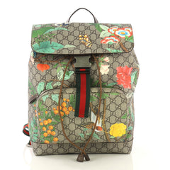 Gucci Buckle Backpack Tian Print GG Coated Canvas Medium