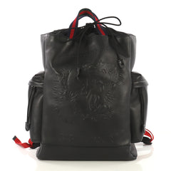 Gucci Web Drawstring Backpack Embossed Leather Large