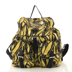 Prada Double Front Pocket Backpack Printed Tessuto Medium