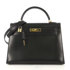 Hermes Kelly Handbag Black Box Calf with Gold Hardware 32 422514