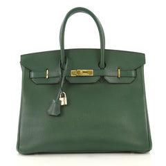 Hermes Birkin Handbag Green Ardennes with Gold Hardware 35 - Rebag