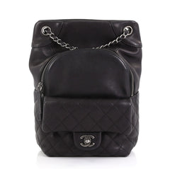 ca612f270dcf Chanel Model: Drawstring CC Flap Backpack Quilted Lambskin Medium Black  42251/61