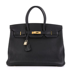 Hermes Birkin Handbag Black Clemence with Gold Hardware 35 - Rebag