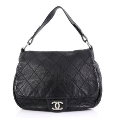 Chanel Model: On the Road Flap Bag Quilted Leather Large Black 42251/84