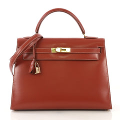 Hermes Kelly Handbag Red Box Calf with Gold Hardware 32 Red 422518