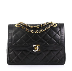 Chanel Model: Vintage Two-Tone CC Flap Bag Quilted Lambskin Small Black 42251/90