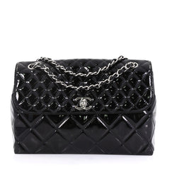 Chanel Model: In The Business Flap Bag Quilted Patent Vinyl Maxi Black 42251/92